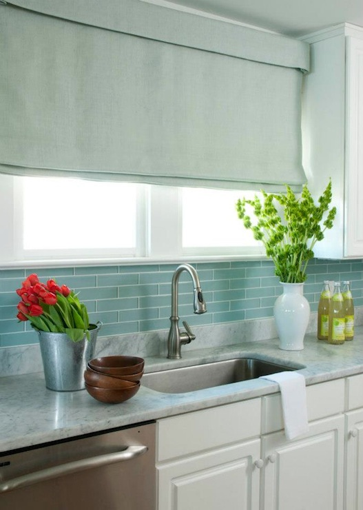 blue glass tile backsplash cottage kitchen liz carroll interiors