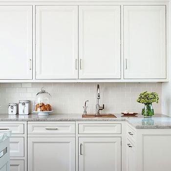Traditional Home - kitchens - gray tiles, gray kitchen tiles, gray kitchen backsplash, gray subway tiles, gray subway tile backsplash, ivory kitchen cabinets, ivory inset cabinets, ivory inset cabinets, marble countertops, prep sink, modern gooseneck faucet, cream kitchen cabinets, cream cabinets,
