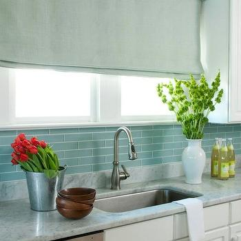 Blue Glass Tile Backsplash, Cottage, kitchen, Liz Carroll Interiors