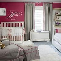 Liz Carroll Interiors - nurseries - Benjamin Moore - Peony - pink and gray, pink and gray glider, pink and gray ottoman, peony pink, pink walls, pink paint, peony pink walls, peony pink paint, wallpaper accent wall, gray wallpaper, gray wallpaper accent wall, grap drapes, gray glider, gray ottoman, glider, pink piping, traditional crib, traditional white crib, daybed, white daybed, pink bedding, girl nursery, girls nursery, girls nursery design, pink and gray nursery, pink and gray girl nursery, pink and gray girls nursery, baby girl nursery,
