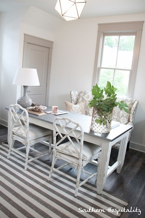white faux bamboo chairs cottage dining room