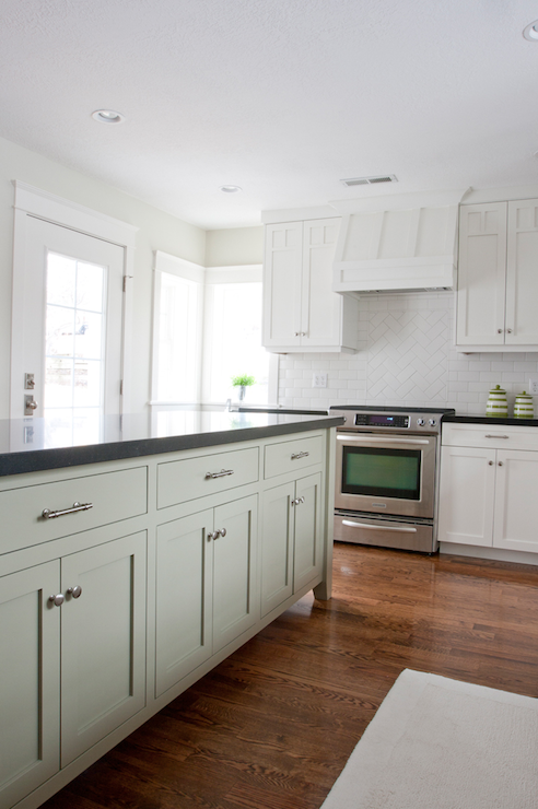 Long kitchen island transitional kitchen tiek built for Charcoal gray kitchen cabinets