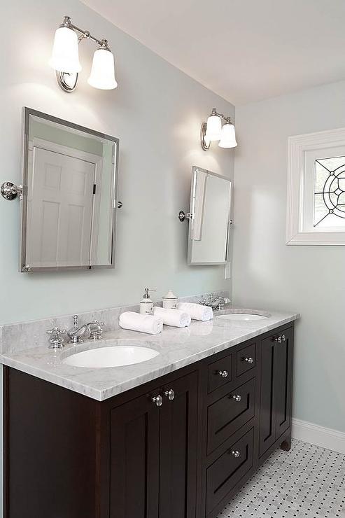 Espresso double vanity transitional bathroom renewal for Espresso bathroom ideas