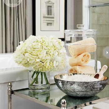 Style at Home - bathrooms - vignette, gray grasscloth, grasscloth wallpaper, gray grasscloth wallpaper, modern soaking tub, etagere, bathroom etagere, mirrored etagere, mirrored bathroom etagere, nickel etagere, nickel bathroom etagere, grommet drapes, gray grommet drapes,