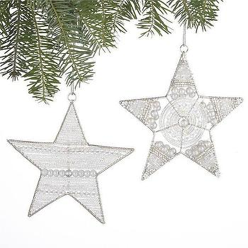 Miscellaneous - Set of 2 Beaded Star Ornaments | Crate and Barrel - beaded star ornament, silver star ornament, white star ornament, beaded Christmas tree ornament,
