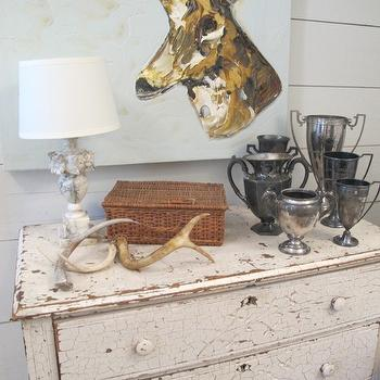 Sherry Hart Designs - entrances/foyers - vintage chest, crackled vintage chest, white vintage chest, vignette, alabaster lamp, decorative antlers, pewter urns, white wood panels, wood panel walls, vintage lamps, vintage table lamps, alabaster lamps, alabaster table lamps, vintage alabaster lamps, decorative antlers,