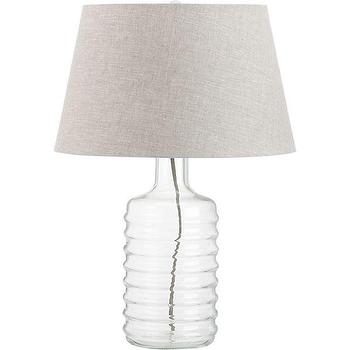 Lighting - Pauline Table Lamp | Crate and Barrel - rippled bottle lamp, bottle lamp, clear glass lamp, ridged glass lamp, bottle shaped lamp, clear bottle shaped lamp,
