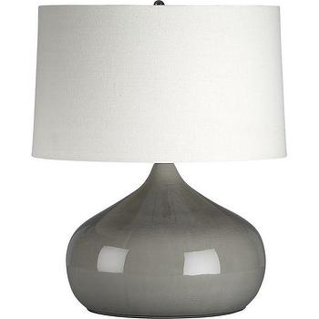 Lighting - Martin Table Lamp | Crate and Barrel - gray vase, gray glazed vase, gray teardrop vase, gray ceramic vase,