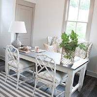 Southern Hospitality - dining rooms - denim stripe rug, gray stripe rug, denim stripe rug, faux bamboo armchairs, white faux bamboo, armchairs, white faux bamboo, white washed, white washed dining table, zinc dining table, zinc-top dining table, white washed zinc dining table, settee, wingback settee, gray wingback settee, ikat settee, gray ikat settee, gray wingback settee, ikat wingback settee, gourd lamp, gray gourd lamp, faceted pendant, faceted pendant light, faceted chandelier, gray doors, gray moldings, gray window moldings, Ballard Designs Vineyard Stripe Rug, Ballard Designs Turin Pendant Light, Ballard Designs Messina Dining Table, Ballard Designs Parker Settee, Ballard Designs Malabar Gray Fabric, Ballard Designs Suzanne Kasler Large Gourd Lamp, Ballard Designs Macau Armchair,