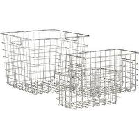 Decor/Accessories - Wire Baskets | Crate and Barrel - modern storage baskets, steel wire baskets, nickel baskets, nickel storage baskets, nickel wire baskets,