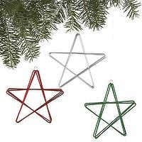 Miscellaneous - Set of 3 Shiny Metal Star Ornaments | Crate and Barrel - shiny star ornament, metal star ornament, star ornament, red star ornament, white star ornament, green star ornament,