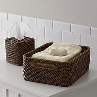 Decor/Accessories - Sedona Low Open Tote I Crate and Barrel - rattan baskets, rattan bathroom tote, rattan tissue box cover, rattan towel basket, rattan bathroom accessories,