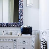 Thomas Hamel - bathrooms - seashell mirror, blue seashells mirror, seashells bathroom mirror, beachy bathroom mirror, blue bathroom mirror, seashells mirror, single bathroom vanity, sconces flanking bathroom mirror, bathroom sconces, modern bathroom sconces, white sconces,