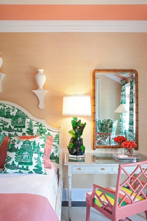 ... grasscloth wallpaper, painted ceiling, pink and green bedrooms