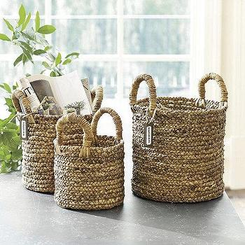 Decor/Accessories - Set of 3 Marisol Baskets | Ballard Designs - water hyacinth baskets, woven baskets, round basket, handled basket, braided basket,