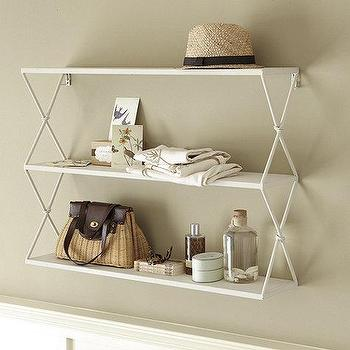 Decor/Accessories - Renee Shelf | Ballard Designs - white shelf, white metal shelf, x-sided shelf, laundry room storage, bathroom shelf, laundry room shelf,