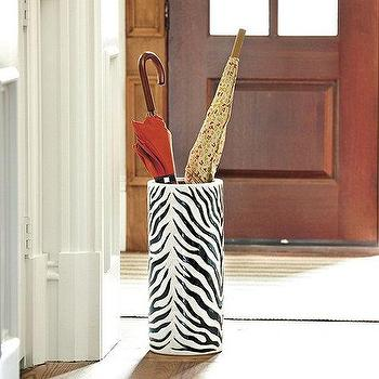 Decor/Accessories - Zebra Umbrella Stand | Ballard Designs - zebra umbrella stand, animal print umbrella stand, black and white umbrella stand, ceramic umbrella stand, umbrella stand,