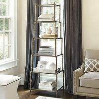 Storage Furniture - Wilton Etagere | Ballard Designs - bamboo etagere, faux bamboo etagere, antique brass, antiqued mirror, etagere, stacked shelf etagere,