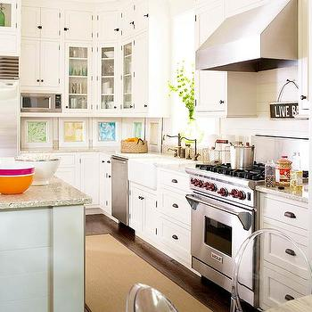 White Granite Countertops, Cottage, kitchen, BHG