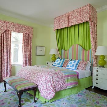Tobi Fairley - girl's rooms - pastel bedroom, lime green, lime green bedroom, girls room, floral rug, pastel colored floral rug, striped ottoman, pink green and turquoise, pink damask fabric, damask drapes, damask canopy, striped headboard, curvy striped headboard, white nightstands, green lamp, green gourd lamp, lime green walls, pale green walls, pink damask, damask bedding, blue pillow, blue geometric pillow, bold bedroom, teenage girls room, lime green bed skirt, layered pillows, white ruffled sheets, pink and green girls bedroom, pink and green girls room, pink and green girls bedding,