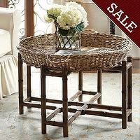 Tables - West Indies Coffee Table | Ballard Designs - west indies coffee table, british colonial coffee table, tropical coffee table, bamboo framed coffee table, wicker basket topped coffee table,