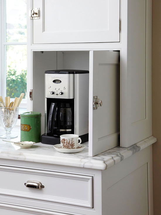 Coffee bars on pinterest home coffee bars home coffee stations - Hidden Coffee Station Transitional Kitchen Bhg