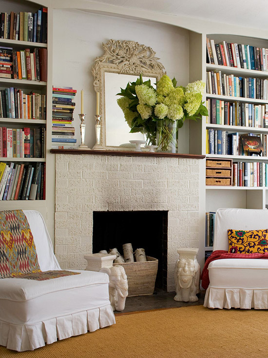 bookcase designs around fireplace