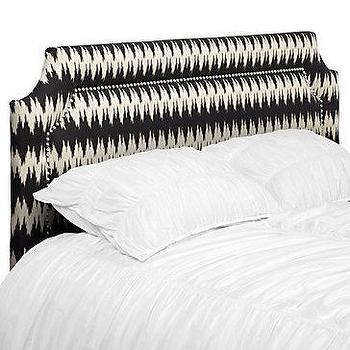 Beds/Headboards - Z Gallerie - James Headboard - geometric upholstered headboard, black and white headboard, headboard with nailhead trim,