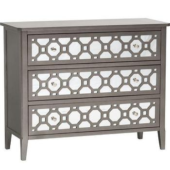 Storage Furniture - Kaylan 3 Drawer Mirrored Chest I High Fashion Home - mirrored chest, mirror fronted chest, modern mirrored chest, gray chest with mirrored front drawers,
