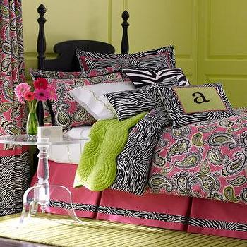 Bedding - Majella Marzipan Bed Linens - Neiman Marcus - zebra print duvet cover, hot pink paisley duvet cover, lime green coverlet, zebra print bedding, hot pink paisley bedding,