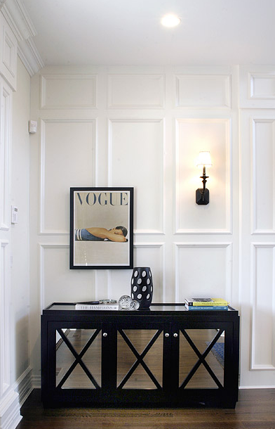 Black Mirrored Cabinet Transitional Entrance Foyer