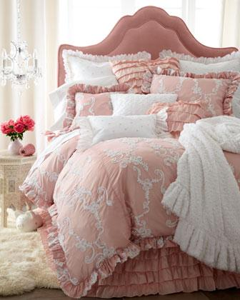 Catherine bed linens neiman marcus for Dusty rose bedroom ideas