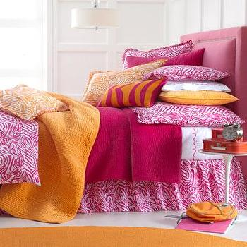 Bedding - Zabrina Bed Linens - Neiman Marcus - hot pink bedding, orange coverlet, pink zebra print bedding, hot pink zebra print bedding,