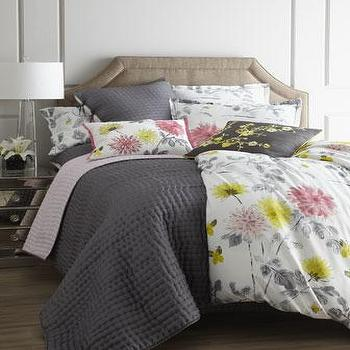 Bedding - Amala Bed Linens - Neiman Marcus - gray bedding, butterfly bedding, gray yellow pink bedding, floral bedding, modern floral bedding, dahlia bedding,