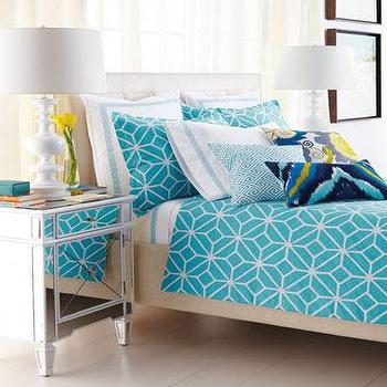 Bedding - Turquoise and White Trellis Bed Linens - Neiman Marcus - turquoise and white bedding, modern turquoise bedding, trellis print bedding, graphic turquoise bedding,
