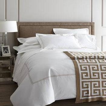Bedding - Resort Bed Linens - Neiman Marcus - hotel bedding, white hotel bedding, white cotton percale bedding, taupe satin stitching,
