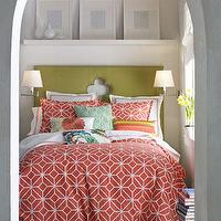 Bedding - Trellis Bed Linens - Neiman Marcus - coral and white trellis bedding, coral pink and white bedding, modern coral bedding, trellis print comforter,