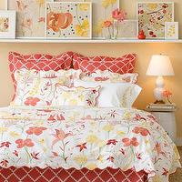 Bedding - Mirabella Bed Linens - Neiman Marcus - coral lattice print bedding, coral zigzag lattice print pillows, coral and white modern floral bedding, floral bedding, coral pink and white bedding,