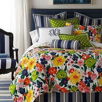 Bedding - Preppy Bed Linens - Neiman Marcus - white and navy striped bedding, navy striped pillow, navy striped bolster pillow, floral duvet, preppy floral duvet cover, monogrammed pillow sham, multi-colored floral bedding, modern floral bedding, yellow chartreuse pink bedding,