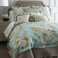 Bedding - Portobello Bed Linens - Neiman Marcus - taupe and aqua blue bed linens, taupe bed linens, floral aqua bedding,