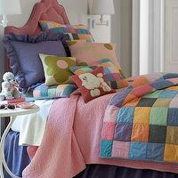 Bedding - Nantucket Bed Linens - Neiman Marcus - patchwork quilt, multi-colored patchwork quilt, cotton chambray bedding, solid purple pillow, purple dust ruffle,