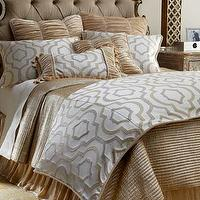 Bedding - Constantine Bed Linens - Neiman Marcus - geometric bed linens, ruched velvet bedding, channel-quilted gold coverlet, velvet dust skirt, Channel-Quilted Gold Sham, Ruched Velvet Pillow,
