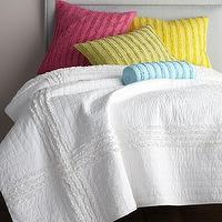 Bedding - Cloud Bed Linens - Neiman Marcus - ruffled bedding, ruffled bed linens, hot pink, white, yellow, green, turquoise,