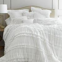Bedding - Flores Bed Linens - Neiman Marcus - ruffled bedding, white ruffled bedding, shabby chic bedding, white ruffled bed linens, ruffled bed linens,