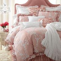 Bedding - Catherine Bed Linens - Neiman Marcus - dusky pink bedding, pink ruffled bedding, ribbon-swirl beddin, pink and white bedding, ruffled pink pillows, dusty pink, ruffled bed skirt, white ruffled pillows,