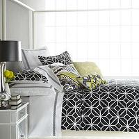 Bedding - Black and White Trellis Bed Linens - Neiman Marcus - black and white trellis bedding, black and white bedding, modern black and white bedding, graphic black and white bedding,