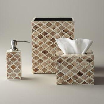 Decor/Accessories - Bone Inlay Vanity Accessories - Neiman Marcus - bone inlay vanity accessories, bone inlay bath accessories, bone inlay soap dispenser, bone inlay tissue box cover, bone inlay wastebasket,