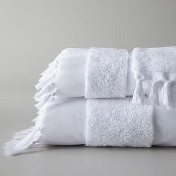 Decor/Accessories - Tassel Bath Towels - Neiman Marcus - hand knotted fringe bath towels, Turkish bath towels, white Turkish bath towels,