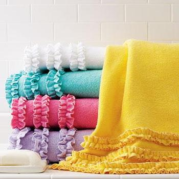 Decor/Accessories - Echo Ruffled Bath Towels - Neiman Marcus - ruffled bath towels, white ruffled bath towels, turquoise ruffled bath towels, yellow ruffled bath towels, pink ruffled bath towels, lilac ruffled bath towels,