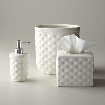 Decor/Accessories - Savoy Vanity Accessories - Neiman Marcus - white geometric bath accessories, white geometric vanity accessories, geometric soap dispenser, geometric wastebasket, geometric tissue box cover,